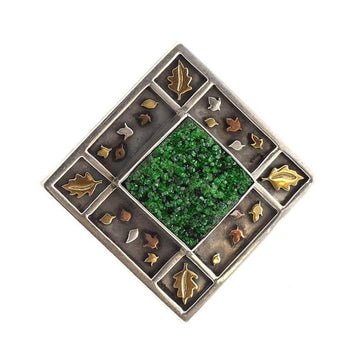 Uvarovite garnet gold pendant brooch - What Women Want Jewellers