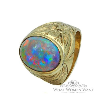 White opal men's ring - What Women Want Jewellers