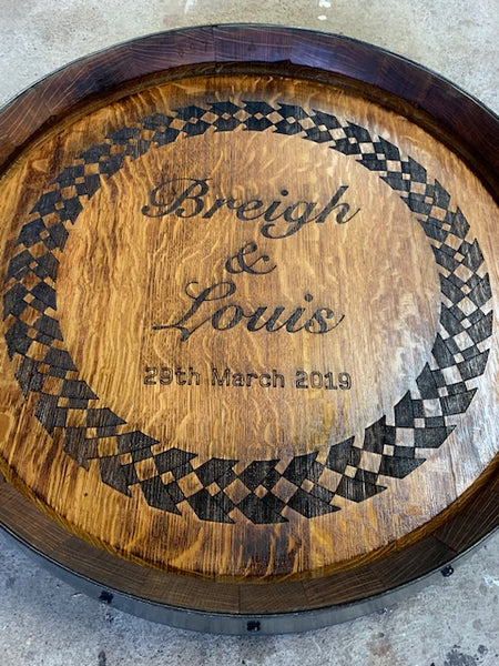'Pinot' Wine Barrel Lazy Susan - Bale handle