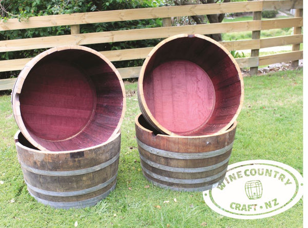 Four Half Wine Barrel Planters