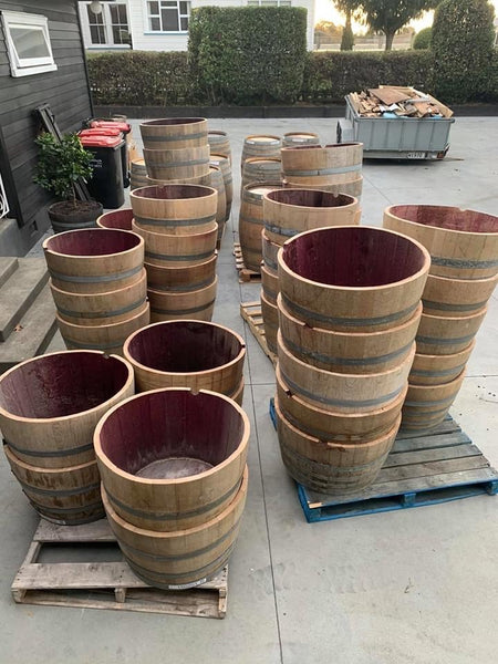 Three Half Wine Barrel Planters