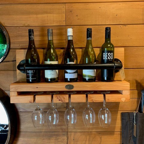 Industrial Wine and Glass Rack