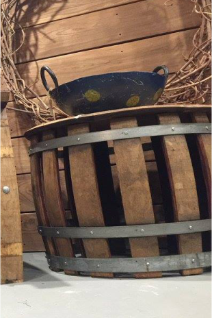 Slatted wine barrel side table wine country craft for 1 2 wine barrel table
