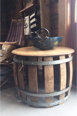 Slatted Wine Barrel Side Table