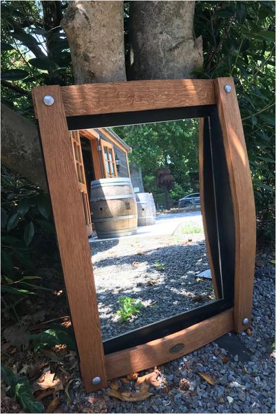 Wine Barrel Curved Stave Mirror