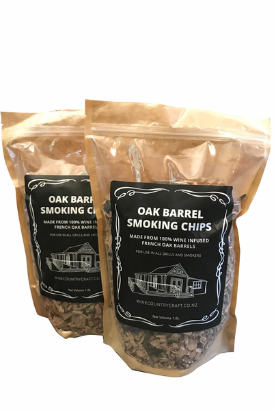 Oak Smoking Chips - Red Wine (2 Bags)