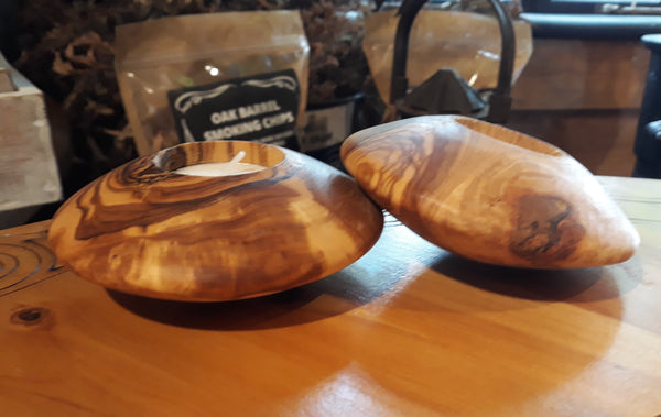 Olive Wood Tea Light Candle Holder