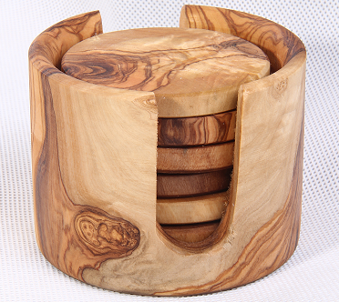 Olive Wood Coasters in Holder