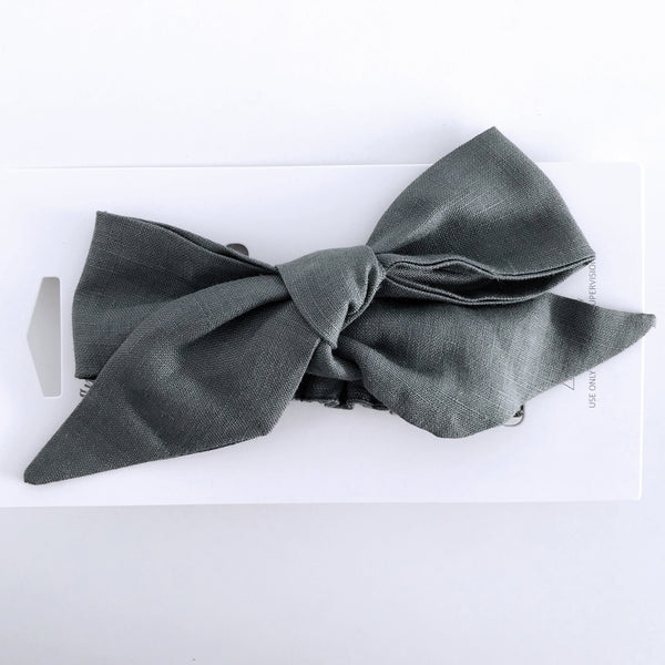 Pre Tied Linen Bow - Olive