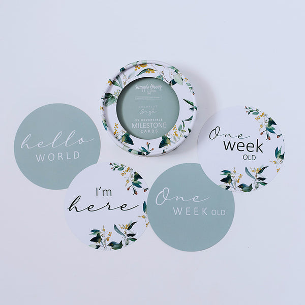 Baby - Reversible Milestone Cards - Eucalypt And Sage