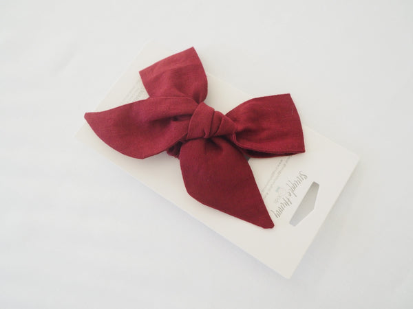 Baby - Pre Tied Linen Bow - Burgundy
