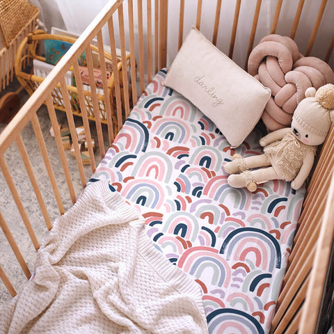 Fitted Cot Sheet - Rainbow