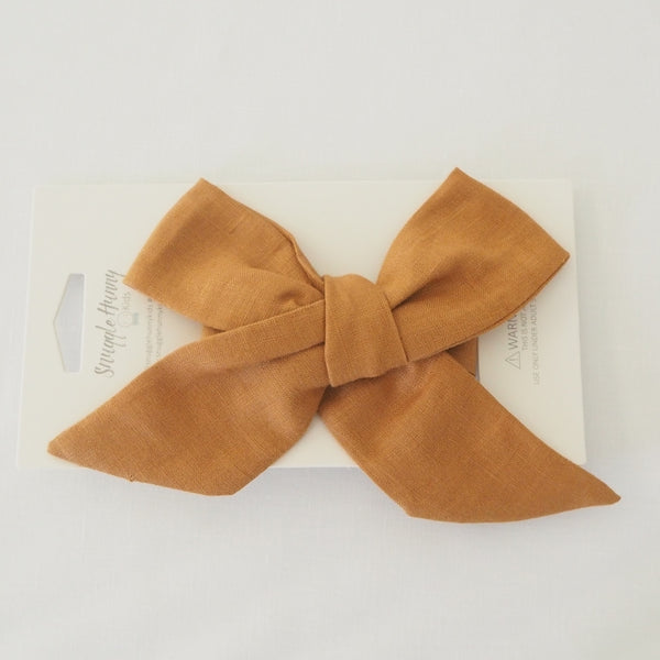 Baby - Pre Tied Linen Bow - Mustard