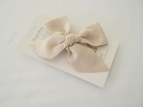 Baby - Pre Tied Linen Bow - Natural