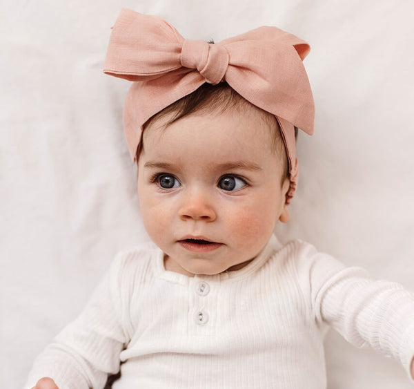 Baby - Pre Tied Linen Bow - Rust