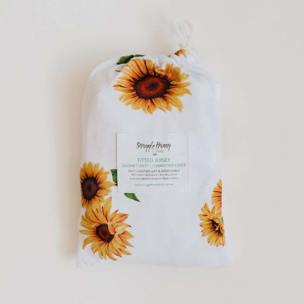 Fitted Bassinet Sheet & Change Pad/Snuggle Me Organic Cover - Sunflower