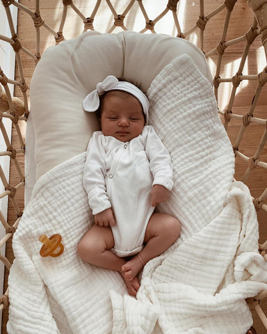 Organic Cotton Quilted Muslin Blanket - White