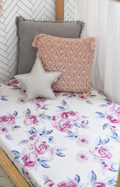 Fitted Cot Sheet - Lilac Skies
