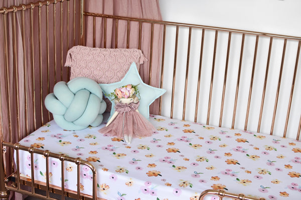 Fitted Cot Sheet - Poppy