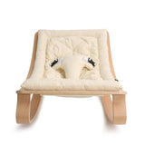 Charlie Crane Baby Rocker Levo - Beech with Organic White Cushion
