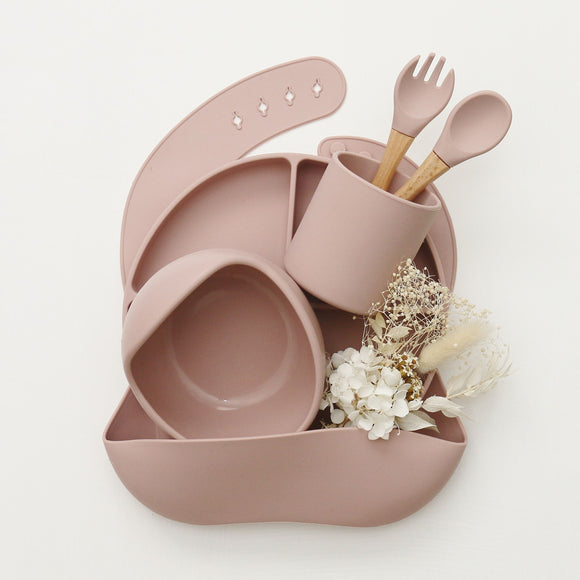Silicone Mealtime Set - Dusty Pink