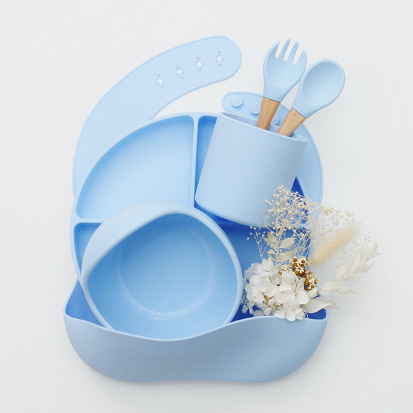 Silicone Mealtime Set - Baby Blue