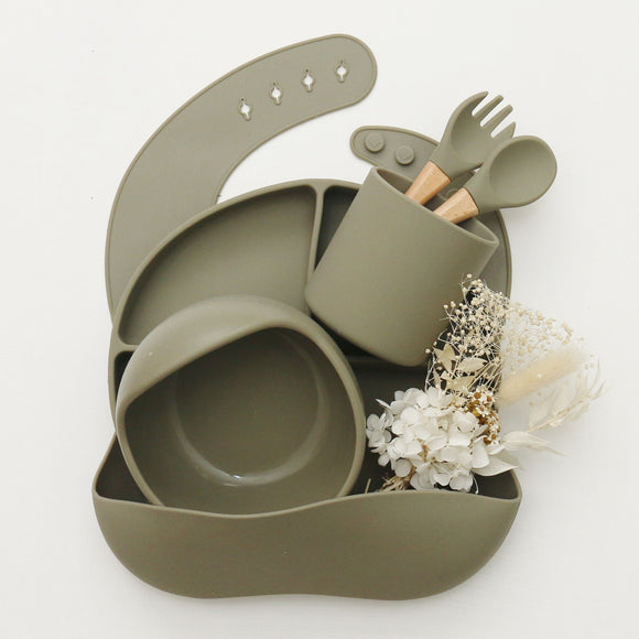 Silicone Mealtime Set - Dark Sage