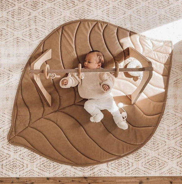 Vegan Leather Quilted Playmat Leaf - Tan