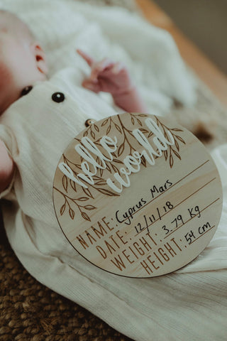 "Baby - ""Hello World"" Birth Announcement Disk (Pre Order)"