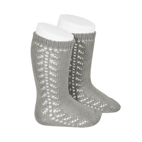 Condor Side Openwork Knee High Sock - Aluminium (221)