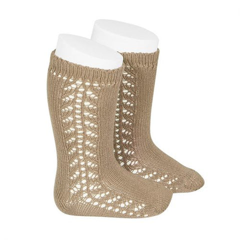 Condor Side Openwork Knee High Sock - Camel (326)