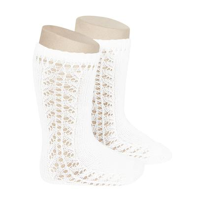 Condor Side Openwork Knee High Sock - White (200)