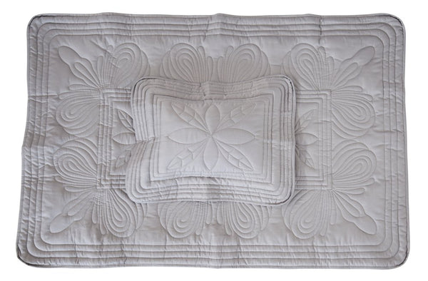 Bonne Mere King Single Straight Edge Quilt and Pillow Set - Elephant Grey