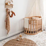 Vegan Leather Quilted Playmat Round - Tan