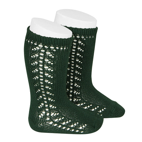 Condor Side Openwork Knee High Sock - Bottle Green (780)