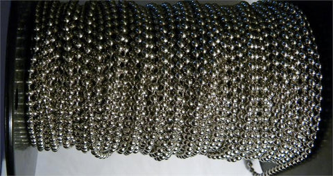 Rollease #10 Nickel plated steel 4.5mm bead 6mm spacing chain 250 foot roll - Wholesale Blindparts
