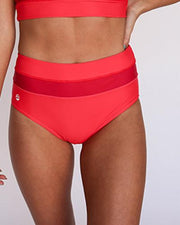bright red colorblock modest high rise swimsuit bottom
