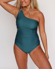 flattering size medium atlantic blue one shoulder one piece swimsuit