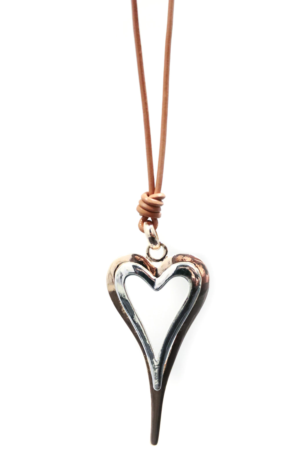 Rose Gold & Silver Heart Necklace