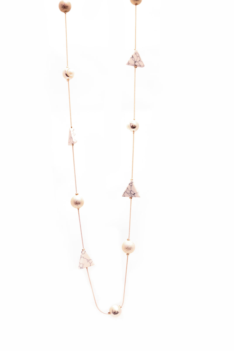 Rose Gold Marble Bead Necklace