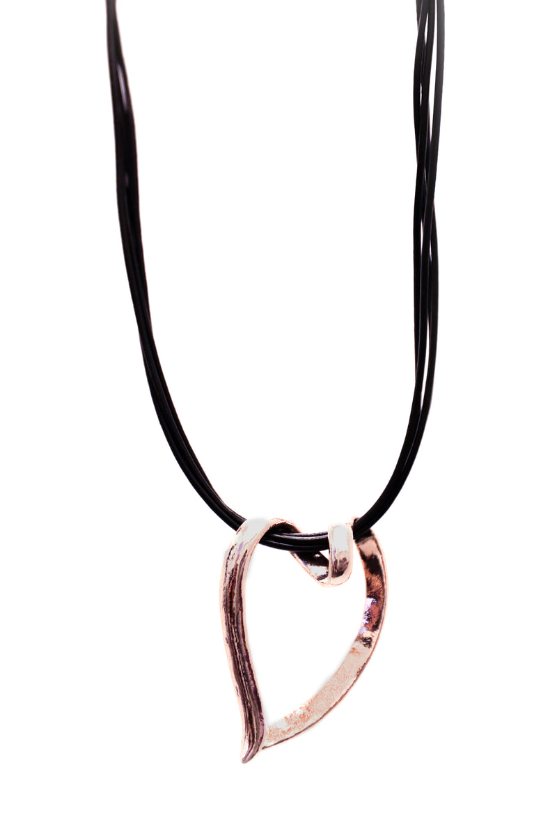Rose Gold Spiral Heart Necklace
