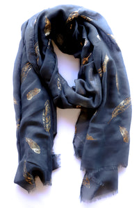 Metallic Feather Scarf
