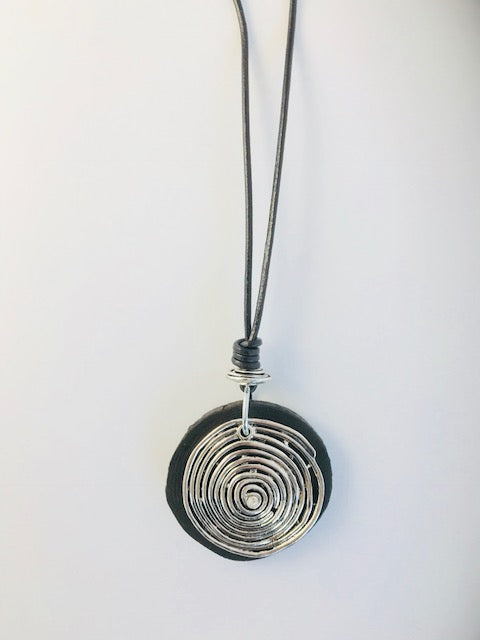 Silver Swirl/Wood Pendant Necklace