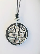 Load image into Gallery viewer, Silver Swirl/Wood Pendant Necklace