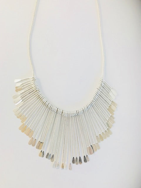 Short Silver Splay Necklace