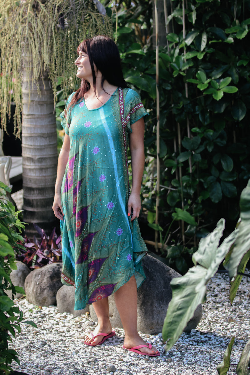 Sleeved Swing Dress Peacock Eye