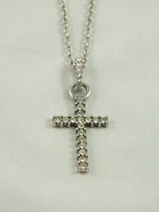 Thin CZ Cross Necklace