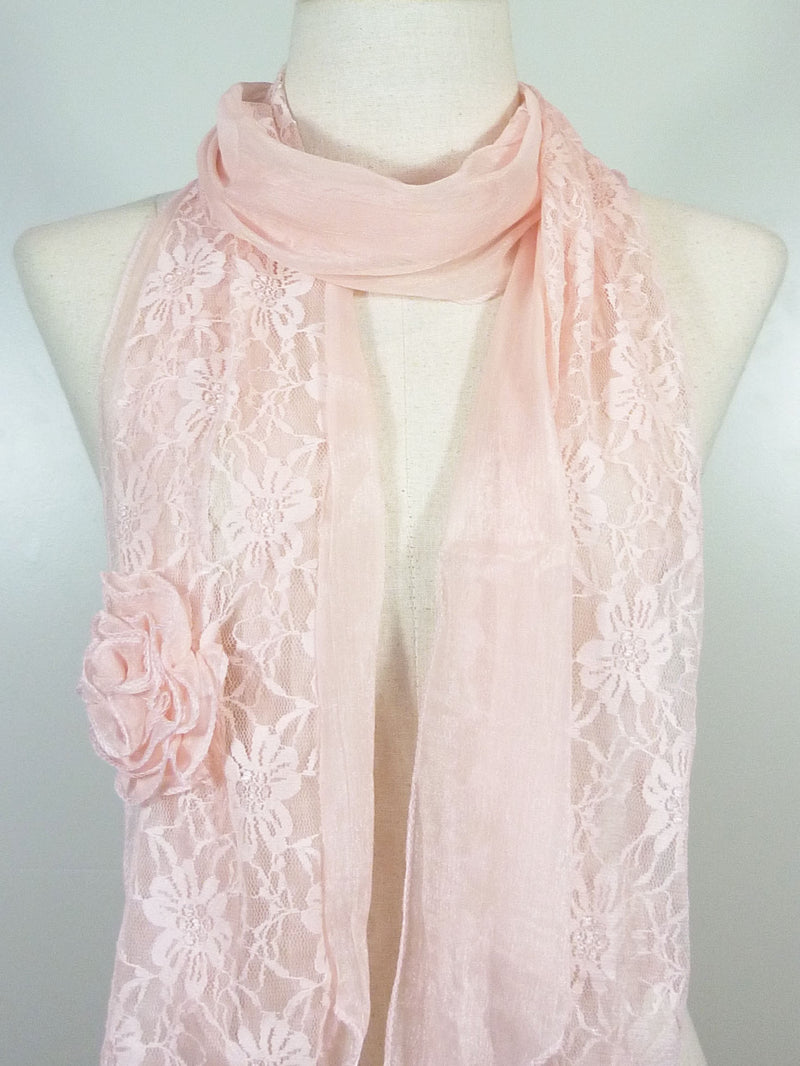 Silk Lace Flower Scarf
