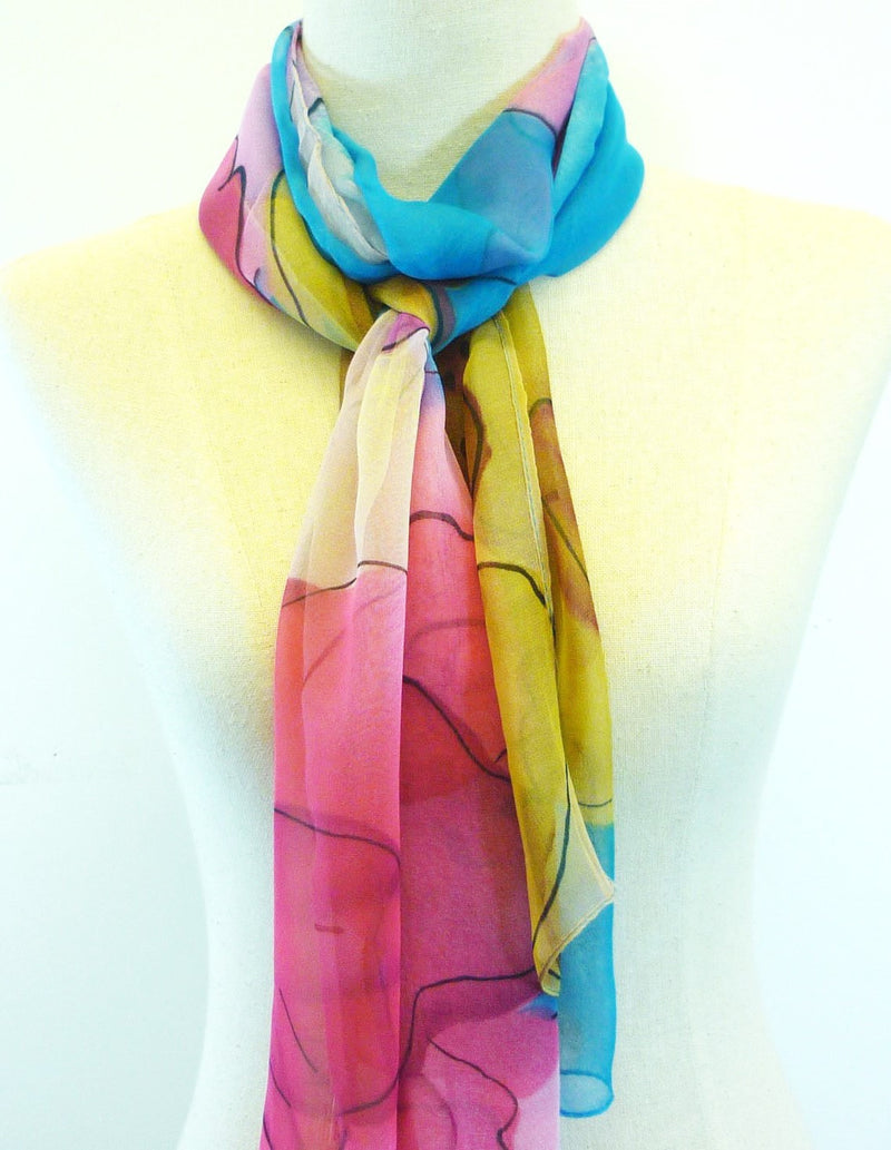 Watercolour Chiffon Scarf