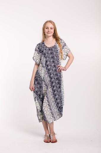 Swing Dress with Sleeve Boarder Print